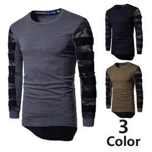 Spring and autumn new men's T-shirt high street camouflage mesh splicing long sleeve Pullover men's sweater