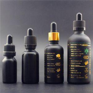 Matte frosted black 15ml 30ml 50ml 100ml glass tincture bottles with dropper lid,Custom logo print cosmetic serum dropper bottle free ship