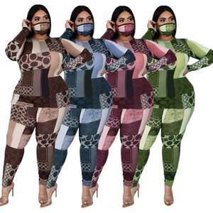 Плюс размера женщины 2 Piece Set Casual O шеи длинного рукава тощего 2pcs Женщины Дизайнеры одежда