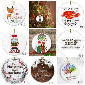 17style 2020 Seramik Noel Süsler 3 İnç Yuvarlak Noel ağacı kolye Santa bir Maske Noel Süsleri GGA3786-1 Aşınma