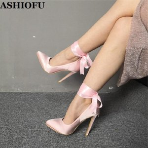 ASHIOFU Real Photos Handmade Ladies High Heel Pumps Ankle-wrap Party Prom Dress Shoes Lace-up Evening Fashion Pumps Court Shoes