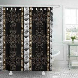 Shower Curtain Hooks tecido listrado Baroque Antique Preto Medieval do vintage do damasco das folhas das flores do rolo do ouro