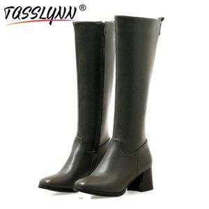 TASSLYNN 2020 Femmes Bottes Square Talons hauts Chaussures d'hiver Femmes Bottes Zip Carré Prable Toe Cuir PU Mesdames Taille 431
