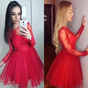 Red Tulle Short Homecoming Dresses 2020 Lace Long Sleeves Graduation Party Gowns Zipper Back Cheap Maid of Honor Dress