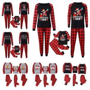 Corrispondenza Famiglia 2020 2021 Maschera di Natale Pajamas Set Buffalo Plaid due pezzi Outfits bambini PJM Blouse + Pants Notte Abbigliamento Sleepwear E110301