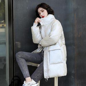 Ailegogo Winter Women Stand Collar Zipper Slim Fit Blue Cotton Coat Streetwear Thick Warm Snow Lady Jacket Big Pocket Outwear