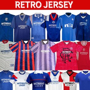 Glasgow Rangers 87 90 92 94 96 97 99 01 Retro Soccer-Trikots Blau Away White Gascoigne Laudrup Fussball Shirts McCoist Football Kits Uniformen