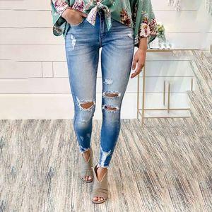 New high waisted women's quarter jeans 78267