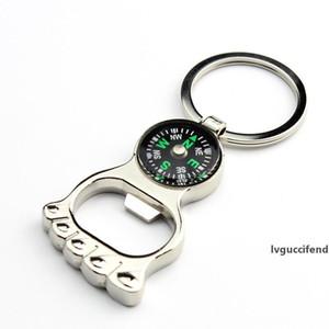 Multifunktions Wandern Metall Minikompaß Flaschenöffner Schlüsselanhänger Fußform Schlüsselring Hot kreative Geschenk-WA2070
