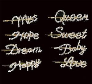 Épingles à cheveux en cristal brillant strass mot lettres Barrettes femmes outil Styling CÉRÉMONIES diamant Accessoires cheveux Clips serrage