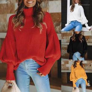 Long Sleeve Sweaters Fashion Casual Women Clothes Autumn Winter Womens Designer Sweater Solid Color High Neck