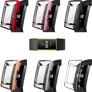 맞는 비트 충전을위한 실리콘 케이스 커버 Fitbit Charge3 / 4 보호 쉘 교체 용 4/3 밴드 TPU 보호자 프레임