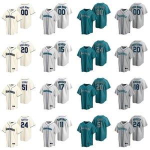 24 Ken Griffey Jr. Jersey Frauen Mitch Haniger 51 Ichiro Suzuki 15 Kyle Seager 22 Robinson Cano Daniel Vogelbach-Baseball-Shirts Individuelle