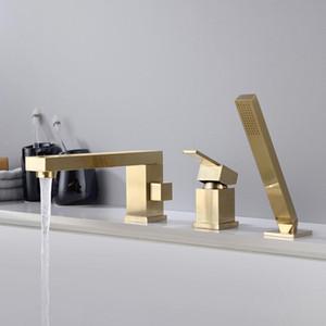In ottone cromato nero opaco spazzolato oro bagno doccia rubinetto vasca da bagno doccia Set da bagno 1 Maniglia 3 fori Miscelatore lavello Rubinetti bbyTYk garden2010