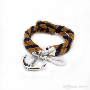 Charm Bracelets Argento Anchor aggancia Riser Bracciale Uomini in pelle per womenmen braccialetto di amicizia