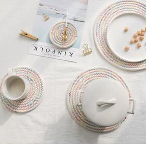 Handgewebte japanische Baumwolle placemats Setzer Geschirr potholders verdickte Wärmedämmung Pads Nordic einfache Baumwolle und Leinen Tischmatte