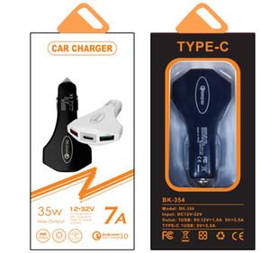Chargeur de voiture 3 Port rapide charge 7A 35W type c Marteau de sécurité QC3.0 charge rapide Chargeur voiture pour mp3 pc samsung téléphone Android