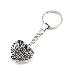 15pcs lots Ancient silver Keychain 3D Lovle hollow Heart Alloy Charms Pendants Key Ring Travel Protection DIY Jewelry A-554f