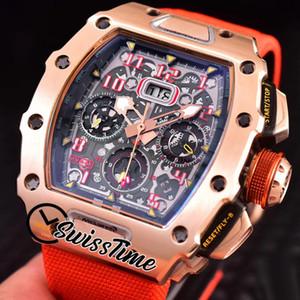 Лучший новый Flubback Chrono RM11-03 RM011 Miyota Автоматические мужские часы Большое дата Черный циферблат розовый золотой чехол красный нейлоновый ремешок часов SwissStime Strm