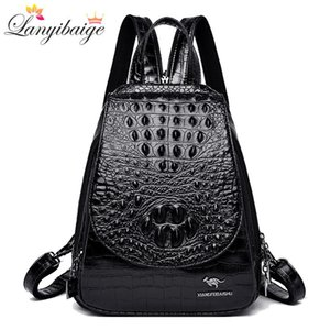 New backpack luxurious crocodile pattern leather backpack women high quality shoulder bag brand school bags for teenage girls 201013