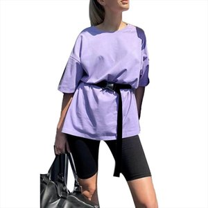 women tracksuit Women Summer Half Sleeve T shirt Shorts Belt Two Pieces Suit Loungewear Set Drop Shipping