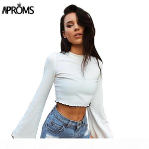 Aproms 90s Girls Flare Crop Top Casual Frill White Basic T-shirt Women Long Sleeve Cropped T Shirt Female Ribbed Tops S929