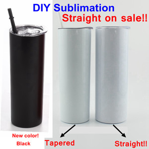 DIY Sublimation Tumbler Straight Blank 20oz Stainless Steel Skinny Insulated Tumbler DIY Straight Cups Beer Coffee Mugs In Stock YFAB2301