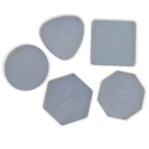 DIY Epoxidharz Silikonformen Tropfenkleber Kristall Runder Quadrat Dreieck Sechseck Octagon Geometrie Mold Becher Matte TRAY Handwerk Werkzeug 3 8QZ M2