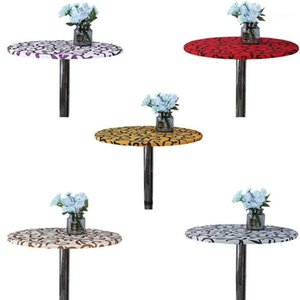 Simple Modern Elastic Table Cover Round Printed Tablecloth Dining Table Protector For Bar Wedding Cocktail1