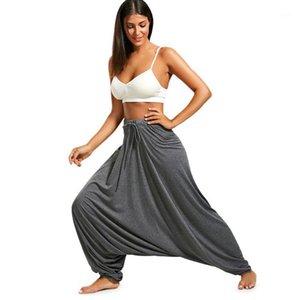 Wipalo Mulheres Calças Drop Bottom Harem Calças com cordão Casual Solto Plus Size Calças de comprimento total Hippie Balloon S-2XL1