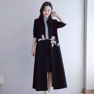 2020 Nuevo estilo chino Mujer retro bordado largo Cardigan Trench Coat Spring Otoño Mujer Ropa XA4161