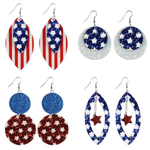 Paillettes Boucles d'oreilles Etats-Unis Élections générales Bricolage oreille mode en cuir Pendentif étoile Stripe Bijoux Femmes Dangle Boucles d'oreilles 3 5yt F2