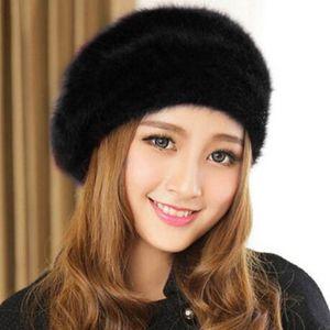 Chapeau Béret Mode Automne Hiver Femmes lapin cheveux Blend Chapeau Épaissir chaud Beret Femme Hat pour les femmes 201113