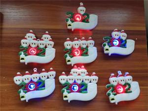 2020 Adornos de Navidad cuarentena familia de 7 personalizados del partido Decoración pandemia Colgante con mascarillas Bendición de PVC regalos E101001