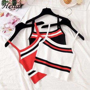 HELIAR Female Camisole Knitting Camis Sexy Crop Top Striped Cotton Camisole Femme Camis Women 2020 Summer Spaghetti Tank Tops