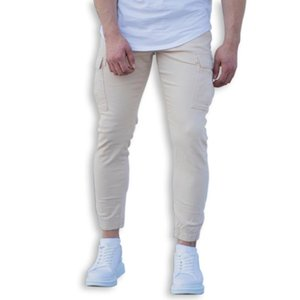 casual 100% cotton denim men cargo joggers in beige pants new style good best price wholesale offer trend 2021