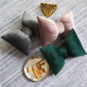 Beautiful solid Bow Pillow with Filling Car neck pillows Home Decor Bow Knot Rosette sofa bed pillow cushion airplane