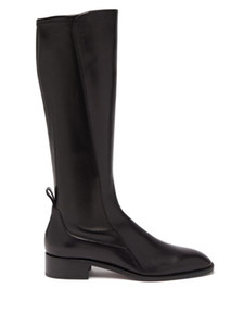 Soft Leather Black Boots Women Shoes,Brand Designs Tagastretch leather knee-high boots Red Bottom Flats Boot Outdoor Winter Autumn With Box