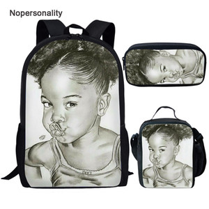 Pretty 3pcs set School for Kids Afro Black Girls African Backpack Children Mochila Escolar Teenagers Book Bags Satchel Q1109