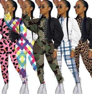 Women Bodysuit Tracksuit Camouflage leopard two-piece strap Designers Crop T-shirt Pullover Legging Pants Outfit Sportwear SALE E92904