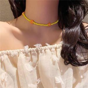 Bohemian Colourful Seed Bead Flower Choker Collana Dichiarazione Collari Brevi Collani daisy Clavice Catena Collana per le donne Gioielli Gifts1