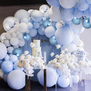 104pcs Blue Silver Macaron Metal Balloon Garland Arch Event Party Foil Balons Weding Baby Shower Birthday Party Decor Kids Adult 1027