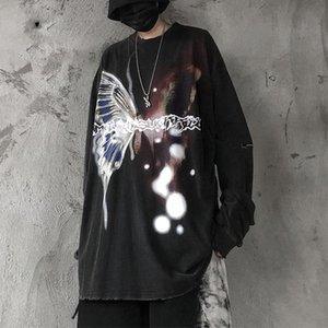 Пуловеры промытые старинные графические бабочки печатают толстовка с длинным рукавом хип-хоп негабаритная футболка осенью