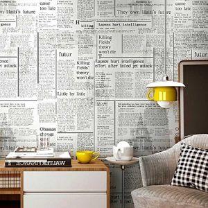 Weiße alte englische Brief Zeitung Vintage Wallpaper Feature Wall Paper Roll for Bar Cafe Coffee Shop Restaurant1
