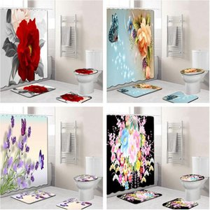 4PCS / 설정 우아한 꽃 패턴 샤워 커튼 매트 세트 비 슬립 매트 카펫 욕실 화장실 목욕