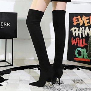 2021 Kadınlar Aşırı Diz Yüksek Süet Çizme 9.5cm Yüksek Topuklar Nightclub Stiletto Topuklar Uyluk Boots Kış Stretch Kalite Ayakkabı