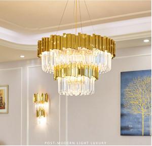 LED Postmodern ronde Cristal d'Or en acier inoxydable Lustre Lustre Suspension Luminaire Lampen Pour Dinning Room