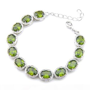 6 Pcs Lot Natural Fire Oval green olive Gems 925 Silver Plated Chain Bracelets Bangles Russia Bracelet Jewelry 8' inch NEW
