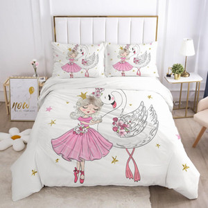 3pcs 여자 공주 만화 침구 아기 키즈 아이들을위한 아이들이 침대 이불 커버 세트 베갯잇 담요 이불 퀼트 커버 귀여운 핑크 백조