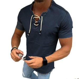 Fashion Denim Shirt Men Fit Slim Jeans Shirt Short Sleeve V-neck Shirts Casual Lace Up Blouse Top Tee Summer Camisa Masculina